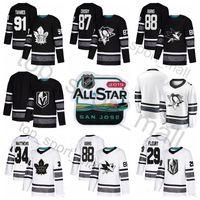 Tudo 2019 Star Jersey Hockey 97 Connor McDavid 88 Brent Burns 87 Sidney Crosby Marc-Andre Fleury 34 Auston Matthews John Tavares Preto Branco