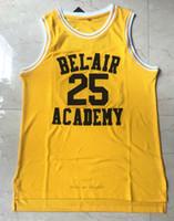 سفينة من الولايات المتحدة # 25 كارلتون بنوك كرة السلة جيرسي الطازجة الأمير الأكاديمية Bel-Air أكاديمية الفانيلة مخيط التطريز الأصفر S-3XL جودة عالية