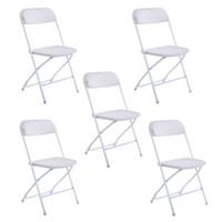 5 stücke Tragbare Kunststoff Klappstühle Weiß Schwarz Stapelbar Im Freien Camping und Wandern Camp Möbel Großhandel US Stock Original!