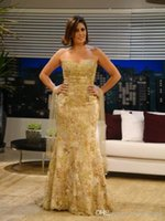 Mermaid Gold Pizzo Elegante Abiti da sera africani formali lunghi Strass lunghi 2019 Nuovo Sexy Zuhair Murad Prom Abiti Libano