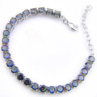 Luckyshine High Quality Holiday Prezent Najnowszy Okrągły Kształcie Rainbow Blue Topaz Gemstone Srebrny Dla Kobiety Mężczyźni Miłośników Bransoletka B0023