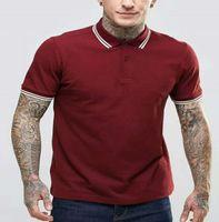 GB Polo Solid Uomini Foglia ricamo Top Nuovi uomini di qualità classica T-shirt dell'attività Abbigliamento UK London Polo Tees Bianco Vino Rosso