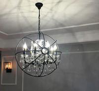 RH Industrielle Beleuchtung Restoration Hardware Retro Kristall Kronleuchter Foucault Eisen Ball Kronleuchter ländliche Krawatte Gyro Loft Lampe Llfa