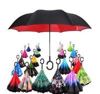 Guarda-chuva Por Atacado Loja 63 Padrões Ensolarado Chuvoso Guarda-chuva Dobrável Invertida Guarda-chuvas Com C Lidar Com Camada Dupla Dentro Para Fora À Prova de Vento