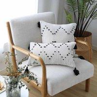 Bianco Nero geometrica Cuscino nappe o un'immagine a telaio per la decorazione domestica divano-letto tiro federa 45x45cm / 30x50cm