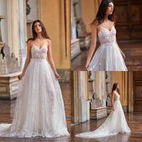 Gali Karten Praia Vestidos de casamento Lace Appliqued A linha Spaghetti Boho vestidos de noiva 2020 Varrer Trem mangas Bohemian vestido de casamento