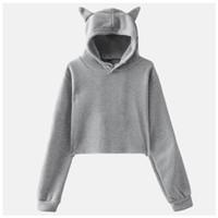Sweat-shirt à capuche Crop Top Cat Ear Poleron Mujer 2019 pull avec capuche Crop Top rose mignon bleu marine en noir et blanc à capuche femmes