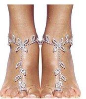 Joyería de las mujeres con los pies, sandalias descalzas, Rhinestone de la hoja del pie dedo del pie de la cadena del pie, boda de playa, del partido y de la danza