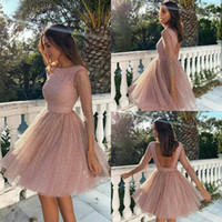 Chic Cocktail Party Dresses Lace Long Sleeve Sequined Puffy ...