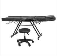 Hot vendas Mobiliário ajustável beleza salão spa massagem cama tatuagem cadeira com banquinho preto
