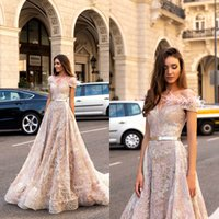 2019 A Line Pink Evening Dresses Off Shoulder Lace Feather S...
