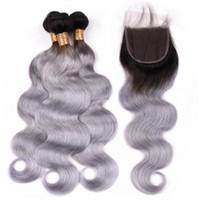 Gris Argent Ombre cheveux avec fermeture 1B / Gris Ombre de cheveux humains 3 Bundles avec dentelle 4x4 Fermeture Extension de cheveux