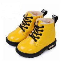 أزياء أطفال مارتن أحذية عالية أحذية PU أحذية جلدية بوي بنات الطفل أحذية الثلج شتاء أطفال حجم 21-35