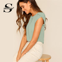 Sheinside Green Keyhole Back Petal Sleeve Solid Top Donna 2019 Summer Elegant Womens Tops and Blouses Ladies Workwear Casual Top