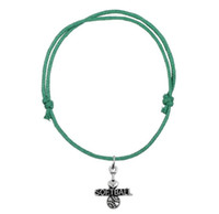 GX067 Mode Coréen Cire Cordon Bracelet Joint Antique Argent Lettre J'adore Softball Charme Sports Bracelet Haute Qualité Cadeau Bijoux