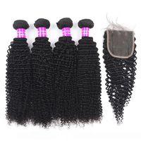 A 9a Brésil Virgin Hair Tissages 4 Bundles Avec 4x4 dentelle fermeture déchaîne Vague cheveux Extensions Trame Ensembles et cheveux humains Clo