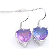 Hurtownie dla kobiet Serce Bi Kolorowe Tourmaline Kolczyk 925 Silver Purple Dangle Cyrkon Kolczyk Biżuteria Ślubna Bezpłatny statek