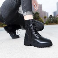 2020 sıcak Deri Platformu Martin Çizme Peluş Dantel-up Siyah Kadın ayakkabı su geçirmez Moda Artış lüks tasarımcı Kadınlar Boots 36-40