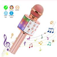 Wireless Microfono Karaoke Bluetooth portatile altoparlante portatile della casa KTV del giocatore con la danza LED luci Funzione record