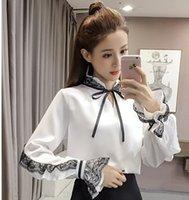 Frete Grátis Nova Chegada Venda Quente Especial de Moda Feminina Versão Coreana Super Fada Loose Lace Costura Arco Chiffon Selvagem Top Tide Camisa