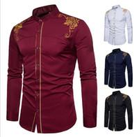 Erkekler Nakış Desen Gömlek Modelleri Retro Tasarım İnce Casual Erkek Gömlek Moda Giyim Tasarımcı Medusa Siyah Beyaz Gömlek 01