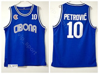 Cibona Zagreb Faculdade Drazen Petrovic Jersey 10 Homens Equipe Cor Azul Universidade Petrovic Basquete Jersey Uniforme Respirável Boa Qualidade