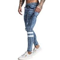 Gingtto Erkek Skinny Jeans Slim Fit Erkekler Sıkıntılı Elastik Bel 32 Bacak 30 zm49 CX200701 kot pantolon Big ve Uzun Stretch Mavi Jeans Ripped