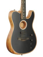 Custom Shop Acoustasonic Tele Matte Noir Guitare électrique Polyester Satiné Terminé Uréthane, Haut Spurce, Col de l'acajou Deep C, Matériel Chrome