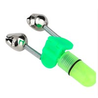 Elektronische leuchtende Nachtangeln doppelte Glocke hellgrünes Licht Blendung Angeln Glocke Fisch Biss Köder Alarm LJJZ491