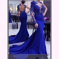 New Royal Blue Mermaid Prom Dresses Lace Appliques Beaded Cr...