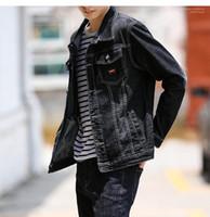 Color Vintage Denim Coat Mens Casual Cardigan Chaqueta Moda Adolescente Mens Jeans Chaqueta Diseñador Primaria Negro
