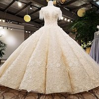 High Quality Luxury Wedding Dress See- Through O- Neck Beaded ...