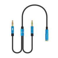 3 5 mm oortelefoon adapter converter kabel headphonemische audio splitter aux extension kabel adapter koord voor pc microfoon mannelijk naar 2 vrouw