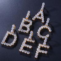 Iniziali di bolle personalizzate Lettera della collana della lettera Bling Bling CZ del pendente dell'alfabeto dell'oro dell'oro catene di corda d'argento per le donne gioielli hip hop