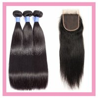 البرازيلي الشعر العذراء حريري مستقيم 3 حزم مع 4X4 الرباط إغلاق اطفال بالجملة الشعر اختتام مع 3 حزم اللون الطبيعي