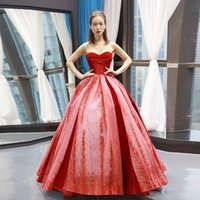 Sexy Strapless Evening Dresses Red Lace Up Back Ball Gown Ev...