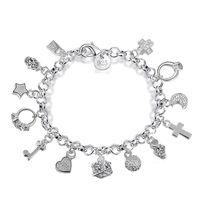 Luxo 925 correntes de prata esterlina pulseiras Chave trava Cruz Anéis Estrela Lua Amor charme Coração fecho Da Lagosta pulseira Para as mulheres Moda Jóias