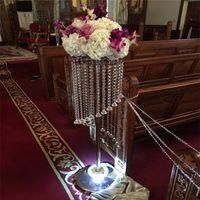 120cm 48inch yüksekliği Akrilik Düğün Centrepiece Kristal Pillar Çiçek koridor geçit Metal Pillar Yol Kurşun fotoğraf sahne Standı