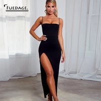 Fuedage Black Summer Sexy Femmes Robe gainante Backless haut de Split bodycon Robes Spaghetti Strap club Party Maxi Robe longue