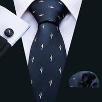 Hızlı Kargo Ipek Kravat Set Moda Mavi Penguen erkek Toptan Jacquard Dokuma Kravat Cep Kare Kol Düğmeleri Düğün Business N-5069