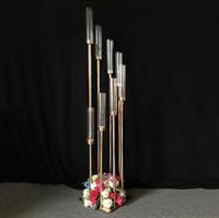 파티 장식 철 및 유리 호텔 테이블 센터 조각 표시 결혼식 서명 지역 도로 리드 8 헤드 골드 메탈 스탠드 기둥 촛대