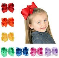 37 Kolory 6 cal Moda Wstążka Dziecko Bow Hairpin Klipy Dziewczyny Duże Bowknot Barrette Kids Boutique Łęk Dzieci Akcesoria do włosów
