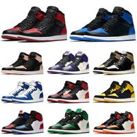 Nike Air Jordan 1 Bred proibido 1 1s jumpman Homens Mulheres Sapatos OG ALTA Basquetebol Royal Blue Ouro New Love Chicago carmesim Tint Esporte sapatilhas Designer