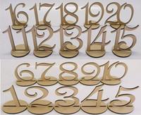 طاولة خشبية رقم 1-20 أرقام الزفاف الجدول الخشب مع قاعدة حامل ل حفل زفاف المنزل الديكور خمر عيد ميلاد مأدبة