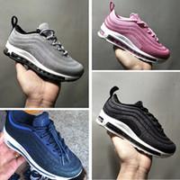 newest 972c4 b672f Nike Air Max 97 Frete grátis 97 OG Crianças Runing Shoes meninos corredor  Prata Rosa Azul