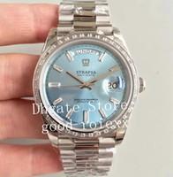 Uhren für Männer Blau Schwarz Silber Rechteck Diamant EW Fabrik Automatische Cal.3255 Uhr Herrentag DATA DATA CROWN 228396TBR Präsident ETA Swiss