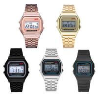 Çok fonksiyonlu WR F91W F91W Moda-Ultra ince Saatler Metal kordonlu saat LED Değişim İzle Spor A159W Erkekler Kadınlar Spor Saatler Saat