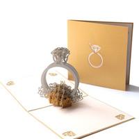 Tarjeta de felicitación de la boda 3D emerge el anillo de diamante creativo Regalos de papel hecho a mano Tarjeta del día de San Valentín por DHL
