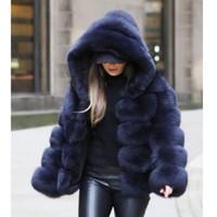 Зима Толстые Теплый искусственного меха пальто женщин плюс размер с капюшоном с длинным рукавом из искусственного меха куртки Роскошные пальто зимы bontjas