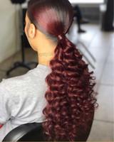 Kinky rizado cola de caballo cola peluca Mejor calidad Borgoña 99J afro rizado rizado extensión de cola de caballo para las mujeres negras de pelo virginal puro 140g